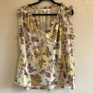Diane Von Furstenberg gold floral blouse size 12